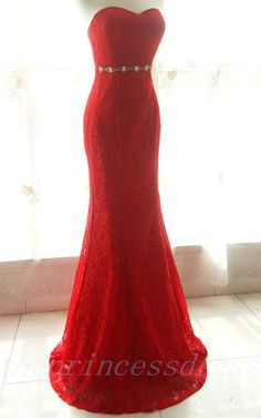 Cheap Long Red Lace Mermaid Prom Dress / by theprincessdress, $190.00