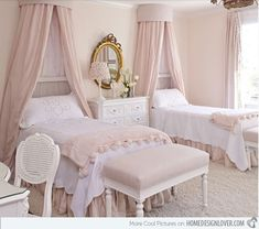 15 Exquisite French Bedroom Designs - French Bedroom | Image: Crush Cul de Sac | We love the sweet and feminine feel that this bedroom gives! The elegant details of this room make a serene retreat for royalties.