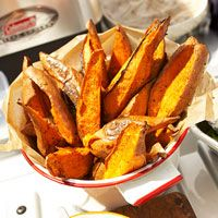 Baked Sweet Potato and Chile Wedges    ingredients  3 1/2  pounds sweet potatoes (5 to 6 large)  2  tablespoons olive oil  1  teaspoon sea salt or 3/4 tsp. salt  1/4  teaspoon ground black pepper  1/2  cup orange juice  3 1/2  teaspoons chili powder  1  tablespoon honey  1  8 ounce carton dairy sour cream  1/3  cup snipped fresh cilantro    directions  1. Preheat oven to 450 degrees