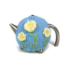 Knit tea cozy dusk blue cosy pastel Spring flowers daisy by jarg0n | Craft Juice