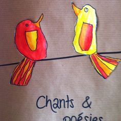 Oiseaux sur un fil Feutre noir, crayons pour aquarelle sur papier craft.