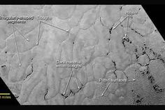 This annotated view of part of Pluto's Sputnik Planum region shows an array of enigmatic features. The photo was acquired by NASA's New Horizons probe on July 14, 2015 from a distance of 48,000 miles (77,000 kilometers). Features as small as 0.5 miles (1 km) across are visible. The blocky appearance of some features is due to image compression. CREDIT: NASA/JHUAPL/SWRI