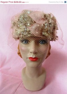 2a0b70fe3e8 1950s sequin blush pink and taupe veil pillbox hat   50s pink floral hat    Garden Party Hat
