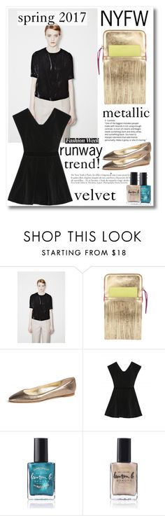 """""""NYFW trend: Velvet and Metallic"""" by runway2street ❤ liked on Polyvore featuring Mes Dames, Emy Mack, Anja and Lauren B. Beauty"""