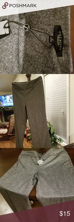 Pants Wide waist band black and white spec with classic wide legs. 35% wool. Zipper on side an 2 imaginable pockets in the back. Very stylish Talbots Pants Wide Leg