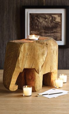 Elephant wooden candle holder votive | bohemian design style