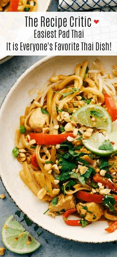 Pad Thai is a Thai stir-fry dish made with tender rice noodles, cooked shrimp, crunchy, warm peanuts, scrambled egg and bean sprouts all mixed together with a creamy sweet and spicy sauce. It's everyone's favorite Thai dish!