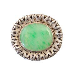 Jade & Silver Filigree Brooch  Vintage by EncoreJewelryandGems