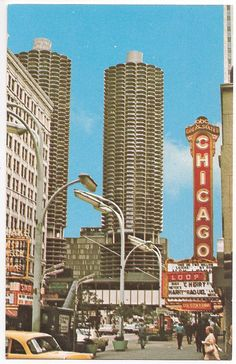 Retro Chicago Street Scene, State Street Chicago with Marina Towers in background.