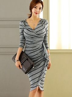 Ericdress Stripe Pleated V-Neck Sheath Dress