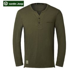 Senlin Jeep 's Spring Solid Color V-Neck Long-sleeved Causal Cotton... (96 PLN) ❤ liked on Polyvore featuring men's fashion, men's clothing, men's shirts, men's t-shirts, mens cotton t shirts, mens lined flannel shirts, mens vneck shirts, mens longsleeve shirts and men's v neck shirts