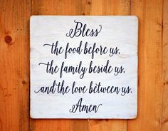Kitchen Decor Bless The Food Wood Sign Hand Painted Blessings Religious Wall Art Rustic Wooden Plaque Dining Room Decorations Holiday Gift