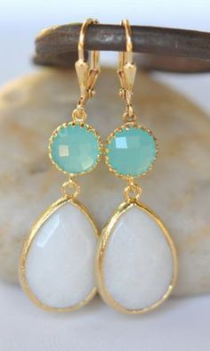 Large White Teardrop and Turquoise Circle Dangle Earrings Lace Earrings, Lace Jewelry, White Earrings, Dangle Earrings, Jewelry Box, Jewelery, Jewelry Accessories, Fashion Accessories, Jewelry Making