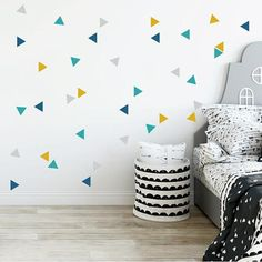 Items similar to Nordic triangle combination mustard - Baby wall sticker on Etsy Baby Bedroom, Baby Boy Rooms, Kids Bedroom, Triangle Wall, Simple Wall Paintings, Mustard Bedroom, Baby Wall Stickers, Kids Room Paint, Boy Nurseries