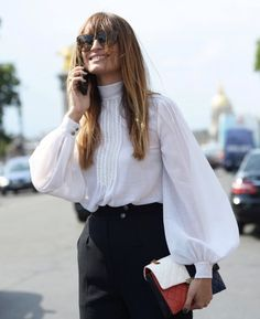"chicblanccouture: "" street style 2015 by grazia "" Fashion Mode, Womens Fashion, Fashion Trends, Victorian Shirt, Bluse Outfit, White Blouse Outfit, Trends 2016, Cut Up Shirts, Outfits Damen"