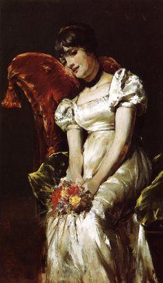 """La joven con flores"" (William Merritt Chase 1849 –1916)"
