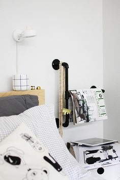I love the use of the piping here and would love it as a towel rack in the bathroom. | messy by AMM blog, via Flickr