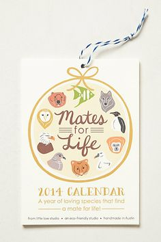 Mates For Life 2014 Calendar #anthropologie - a perfect gift for newly weds, wink wink* friends #anthrofave