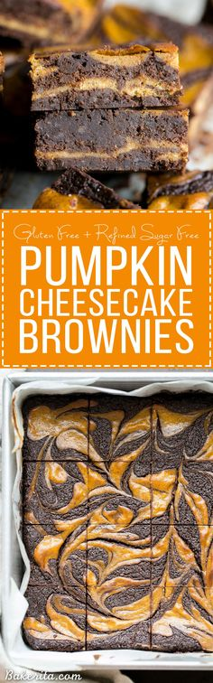 **make & chocolate These Pumpkin Cheesecake Brownies are moist + fudgy brownies with a swirled layer of spiced pumpkin cheesecake! These brownies are gluten-free and refined sugar free. Brownie Cheesecake, Pumpkin Cheesecake, Brownie Recipes, Cheesecake Recipes, Dessert Recipes, Pumpkin Brownies, Gluten Free Cheesecake, Gluten Free Brownies, Gluten Free Baking