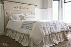 Gathered Bed Skirt made from a drop cloth or any fabric of choice. Time saving gathering technique included in tutorial. - by TIDBITS Burlap Bed Skirts, Burlap Bedding, Ruffle Bedding, Burlap Bedroom, Luxury Duvet Covers, Luxury Bedding, Bedding Master Bedroom, Bedroom Decor, Bedroom Curtains
