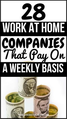 Looking for work at home jobs that pay on a weekly basis? You are at the right p… Looking for work at home jobs that pay on a weekly basis? You are at the right place! These 28 work from home companies pay every single week. Work From Home Companies, Online Jobs From Home, Cash From Home, Work From Home Opportunities, Earn Money From Home, Work From Home Moms, Earn Money Online, Make Money Blogging, Earning Money