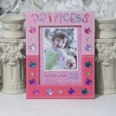 Pink personalized PRINCESS 5x7 photo frame - Princess gifts by AVCustomDesigns $18.00