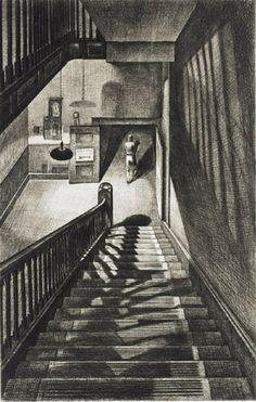 Soir Charmant.  Armin Landeck - Staircase, 1942  Drypoint
