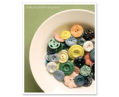Vintage buttons photograph by Jillian Audrey...great wall art for a craft room