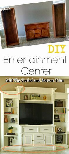 Turn An Old Buffet Into An Entertainment Center by Attaching the Corbel and Bottom Trim