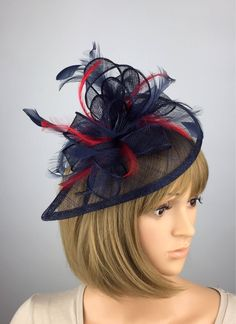 25580876bb30f Navy and Red Fascinator Dark Blue and Red Fascinator Mother of the Bride  Ladies Day   Ascot Races Occasion Event Prom Garden Party