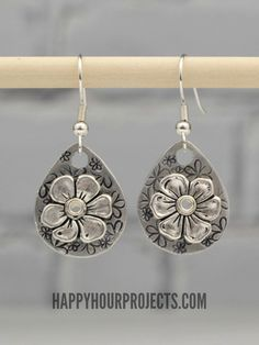 Stamped and Riveted Floral Earrings - a Video Tutorial at www.happyhourprojects.com
