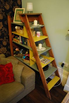 Fabulous upcycled ladder/shelf combo. AKA sh-ladders.  Described by Kirstie Allsopp as just beautiful.  I agree!