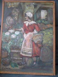 Schilderij olieverf op paneel-vrouw op markt-C van Lerde?