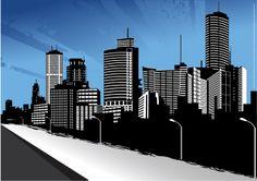 ビル街の遠景のシルエット+City+Skyline+Art+イラスト素材.jpg 1,276×901 ピクセル