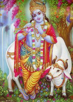 KrIshna... Vintage-Stil indisch-hinduistischen frommen Posterdruck