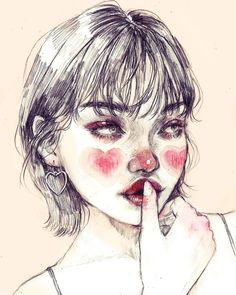 "2,556 Likes, 13 Comments - ♦️ (@0073.uv) on Instagram: ""❤️❤️ . . #dailysketch #dailydrawing #illustration #pencildrawing #pencilportrait #heartblush…"""