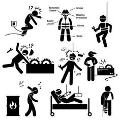Occupational Safety And Health Worker Accident Hazard Pictogram Clipart Stock Vector - Illustration of occupation, jacket: 60357712 Health And Safety Poster, Safety Posters, Safety Clipart, Take Care Of Yourself Quotes, Safety Pictures, Design Jobs, Workers Compensation Insurance, Safety Slogans, Safety Topics