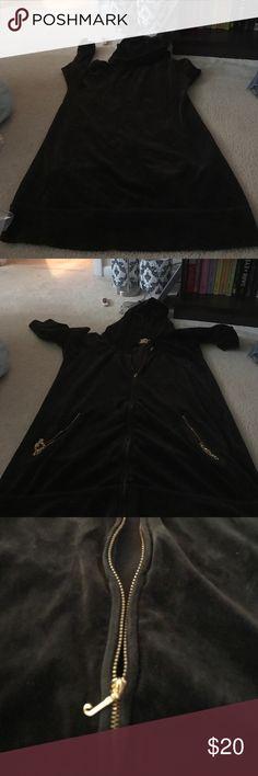 Brown velour xl juicy couture hoodie like new Very long. #160 Juicy Couture Tops Sweatshirts & Hoodies