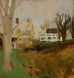 Backyards with Wheelbarrow - Fairfield Porter 1959  American 1907-1975  Oil on canvas 41 x 38 ½ inches Expressionism, Painterly Realism