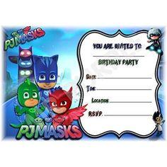 A5 DISNEY KIDS CHILDRENS BIRTHDAY PARTY INVITATIONS X 12 - PJ MASKS LANDSCAPE DESIGN (WITH Envelopes)