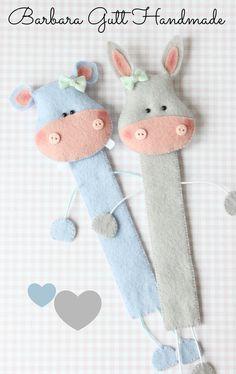 Barbara Handmade...Felt donkey & hippo bookmarks