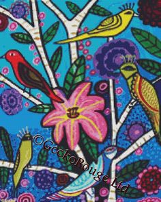 Gecko Rouge modern cross stitch are proud to announce that we have teamed up with Heather Galler© to bring you delightful modern cross stitch kits and patterns. 'Blue toile birds measures 14 count: 11.43 x 14.29 inches 18 count: 8.89 x 11.11 inches 25 count: 6.40 x 8.00 inches With this professionally packed cross stitch kit you will receive the following: • Full glossy colour cover for reference • A black and white pattern • Pre-sorted DMC Stranded Cotton with extra length • 14 Count DMC…