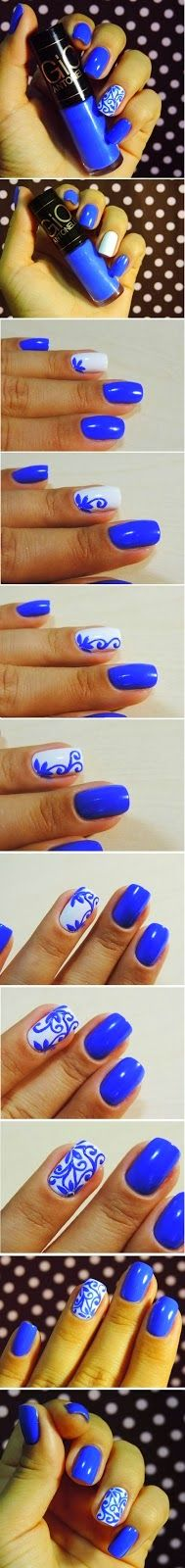 Nails Decorated with Enamel Cold on Stomach Tutorials