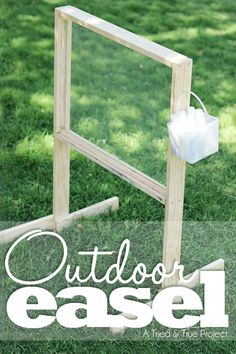 Want an Outdoor Easel but don't want to spend major bucks on it? I don't blame you! Make one for yourself with just the most basic of woodworking tools. Don't have a saw or a way to get the boards .