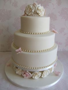 Pretty pink and pearls wedding cake.