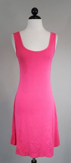 THREE DOTS 3 Adorable Pink Cotton Sleeveless Summer Tank Vacation Dress Size S #ThreeDots #ShiftDress #Casual