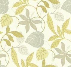 Folia (DIOWFO102) - Sanderson Wallpapers - A delightful profusion of entwined foliage and stems ramble across this wide width design. Shown here in the lime and charcoal grey colourway set on a cream background. Available in 4 colours. Please ask for sample for true colour match.