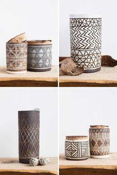 Céramique : motifs géométriques, style ethnique, brun, lignes, Univers Mininga