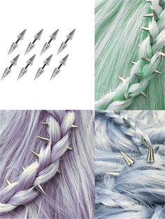 Spike hair decorations (love these! Medium Scene Hair, Hair Medium, Phoenix Hair, Aesthetic Hair, Vintage Glam, Grunge Hair, Hair Dos, Hair Jewelry, Pretty Hairstyles
