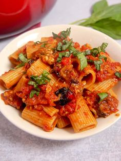 This roasted eggplant and red bell pepper pasta with a made from scratch tomato sauce is vegetarian comfort food at it's finest! #eggplant #bell pepper #roastedeggplant #vegetarian #pastarecipe #veegtarianpasta #eggplantpasta Eggplant Recipes Pasta, Roasted Eggplant Pasta, Roast Eggplant, Pasta Recipes, Vegetarian Pasta Dishes, Vegetarian Comfort Food, Vegetarian Recipes, Healthy Recipes, Healthy Food